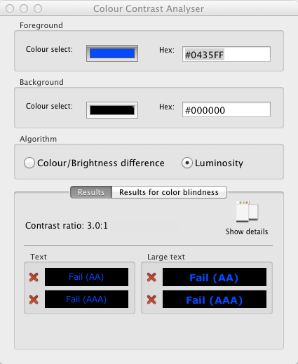 screenshot van Colour Contrast Analyzer