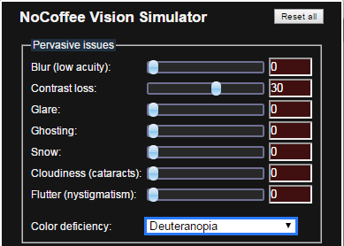 Instellingen van de Nocoffee extensie: color deficiency=deuteranopia, contrast loss=30