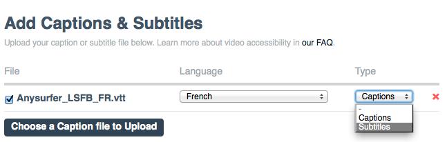Instellingen voor ondertiteling bij een video fragment