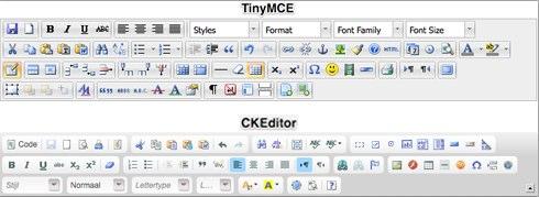 Toolbar CKEditor en TinyMCE