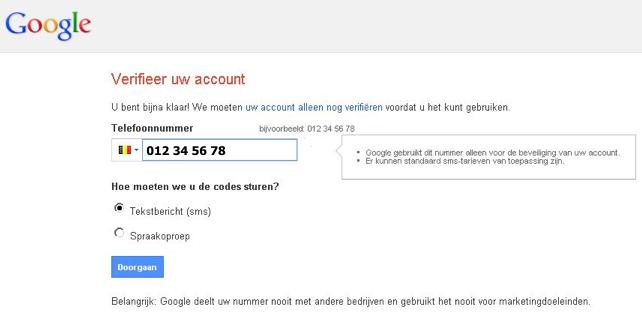 Screenshot telefoonverificatie bij aanmaken van google account.