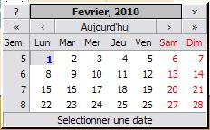 Exemple de calendrier pour sélection de date'