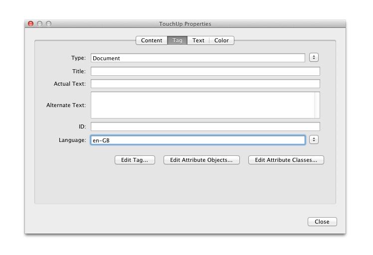 onglet 'Tag' dans la fenêtre 'touchup properties'