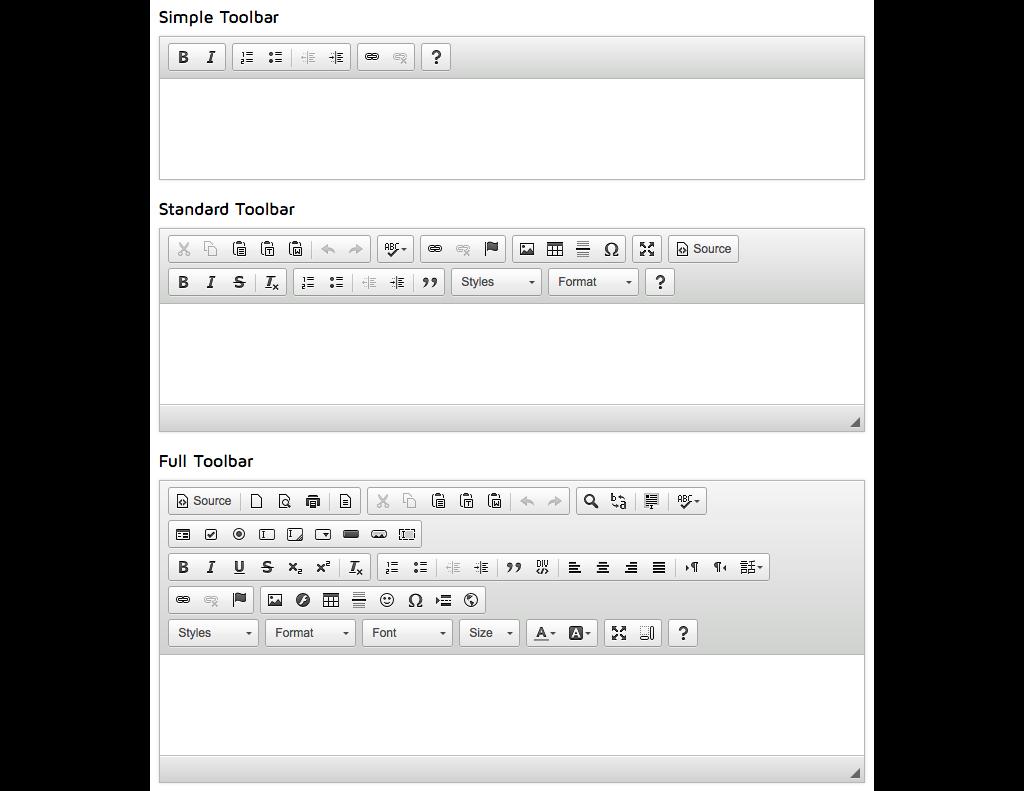 full, standard en simple CK-editor toolbar
