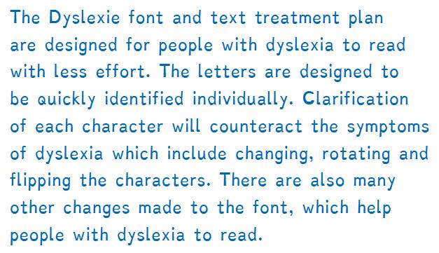 paragraaf in Dyslexie font