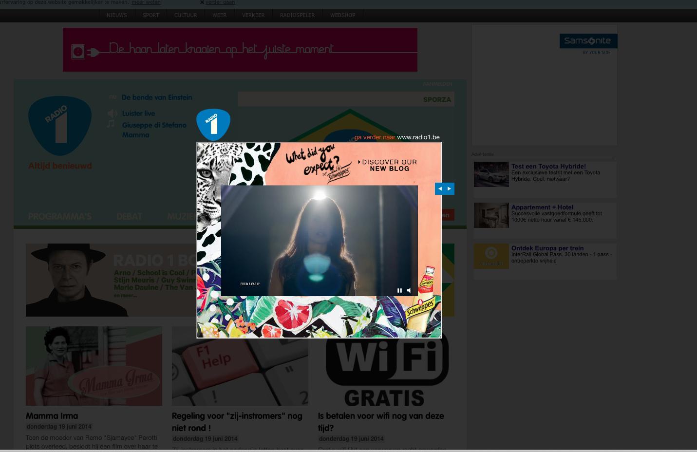 pop-up bij inladen radio1.be