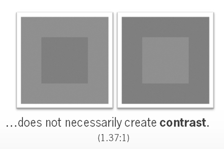dezelfde vierkanten in grijswaarden met weinig verschil in contrast