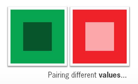 vierkant in rode tinten en vierkant in groene tinten