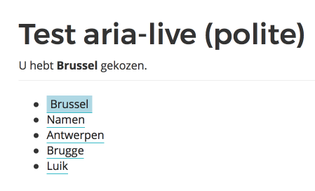screenshot aria-live demopagina