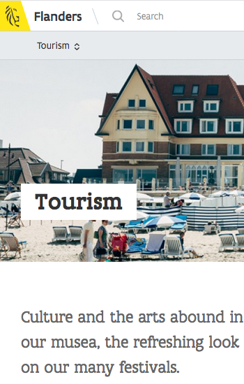 website Flanders with closed dropdown menu for tourism