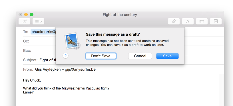 dialoogvenster mail app save message as draft