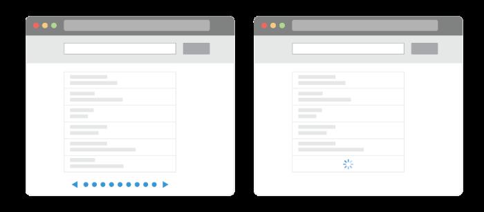 Capture d'écran avec deux fenêtres côte à côte. La première utilise la pagination traditionelle et l' autre utilise l'infinite scrolling