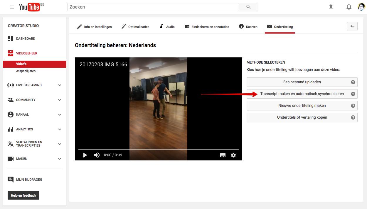 YouTube backend met optie transcript maken en automatisch synchroniseren