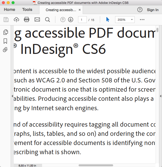 screenshot PDF met 200% zoom en horizontale scrolbalk
