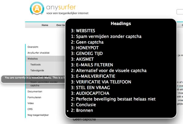 Lijst van headings met VoiceOver