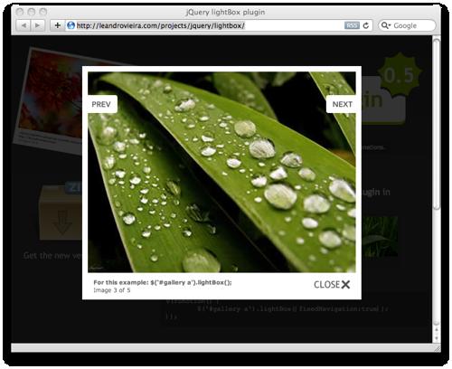 screenshot jQuery Lightbox