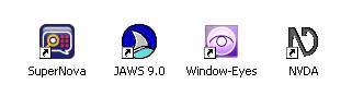 logo Jaws, Window-Eyes, Supernova, NVDA