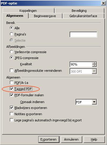 screenshot optievenster afbeelding met tagged PDF aangevinkt