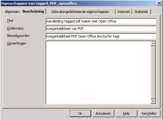 screenshot bestandseigenschappen tabblad beschrijving