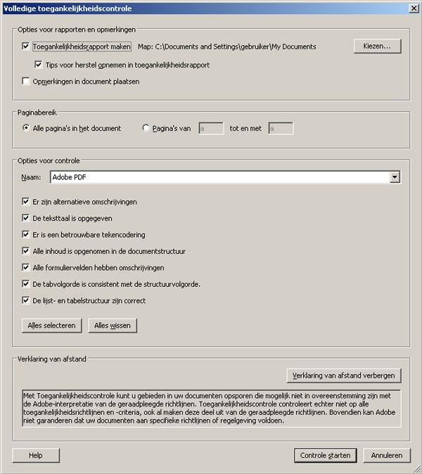 screenshot dialoogvenster toegankelijkheidscontrole