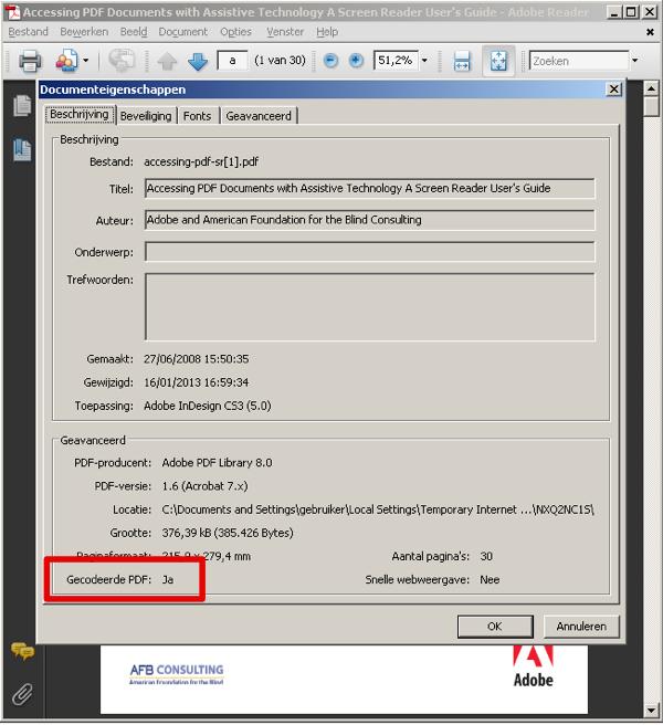 screenshot dialoogvenster bestandseigenschappen