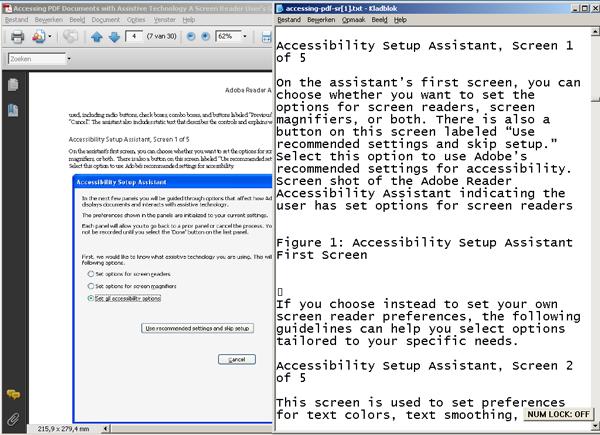 screenshot vergelijking PDF en tekstbestand