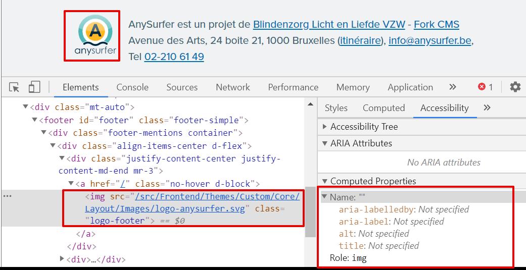 screenshot van de accessibility tree voor logo zonder alt-attribuut