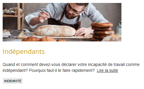 foto van een bakker gevolgd door een titel en de tekst au sujet d'incapacité de travail