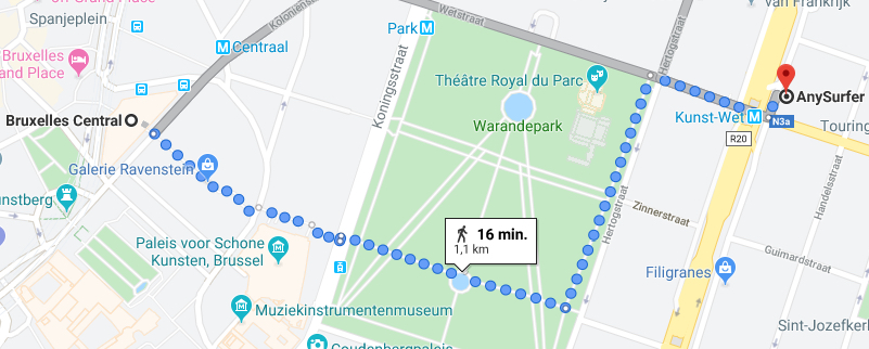 Map by Google Maps with a walking route of about 16 minutes from the central train station through Warandepark, distance 1,1 kilometre