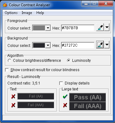 Measuring contrast with the Colour Contrast Analyser (results=3,5:1)