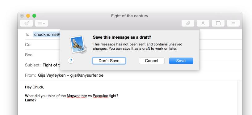 dialoogvenster mail app save message as draft