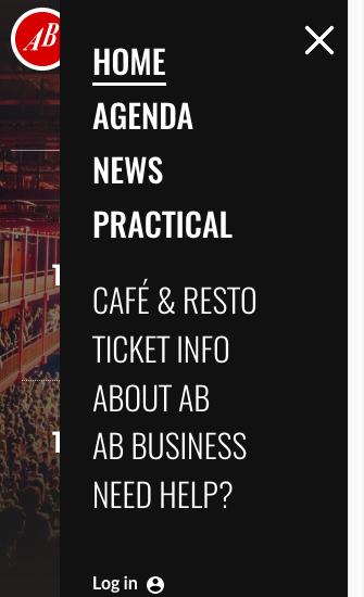 Le site Ancienne Belgique avec menu mobile affiché