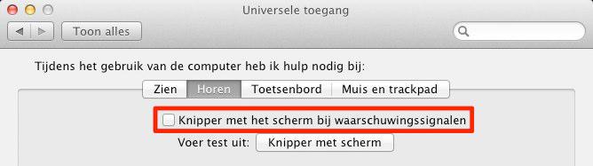 Screenshot van Mac OS X voorkeuren om knippering aan te zetten.