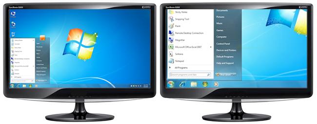 2 monitors, links normale weergave en rechts vergrote weergave