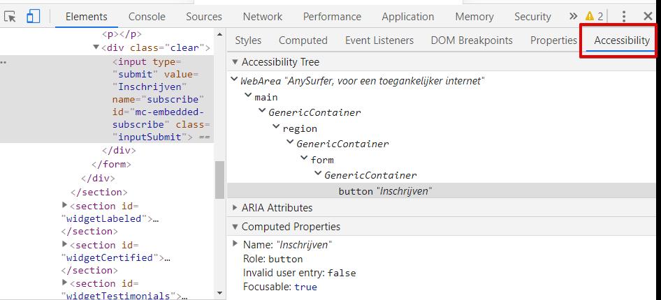 Knop Inschrijven. Links: DOM-tree. Rechts: laatste tab is Accessibility. Daarin accessibility tree met computed properties